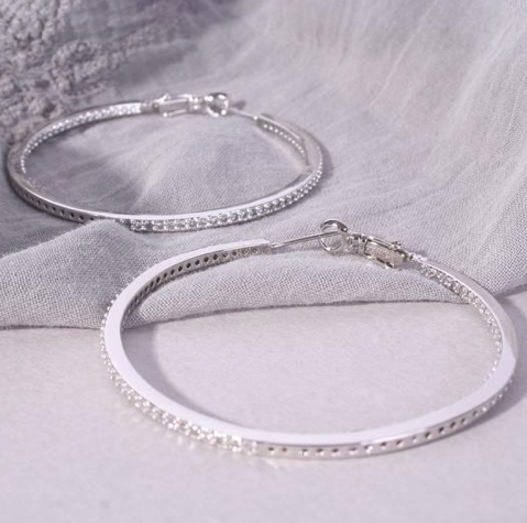 Large Crystal Hoops - Silver
