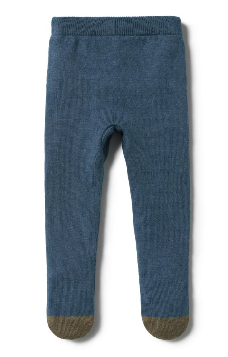 Knitted Legging with Feet - Blue