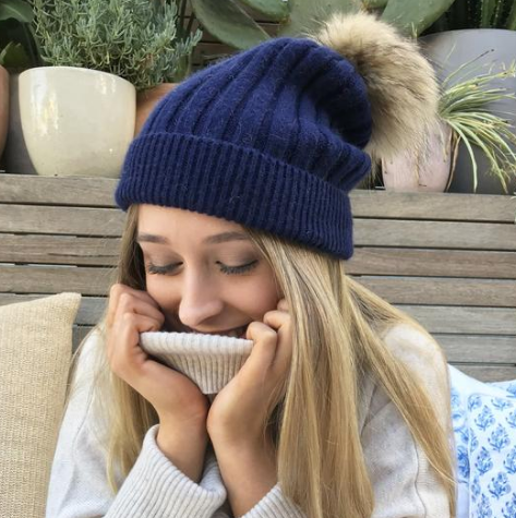 Beanie with Fur Pom Pom - Navy