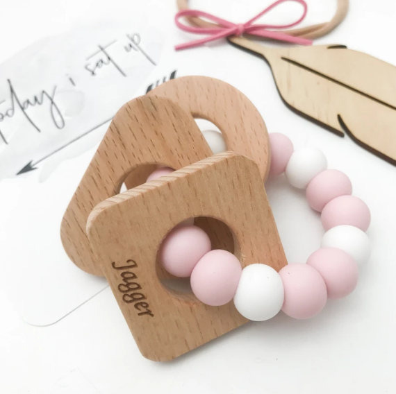 Shapes Silicone and Beech Wood Teether - Pink