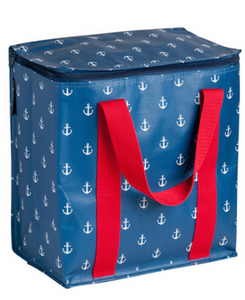The Cafe Medium: Insulated Picnic/Shopper (Navy Anchor Pattern)