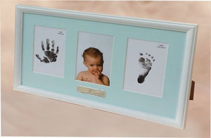 Photo Frame with Baby Hand and Foot (Ink) - Blue
