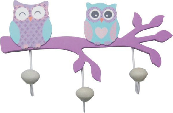 Wooden 3 Hooks with 2x Owls on the Purple Branch
