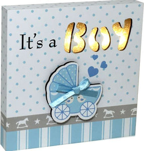 LED It's a Boy Plaque Crib Pattern Blue