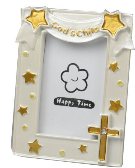 Photo Frame, God's Child with Gold Cross and Star Details, White