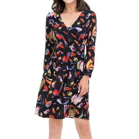 Lacle Women Summer V Neck Bird Print Short Casual Chiffon Dress