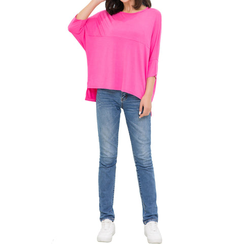 Lacle Women Summer Fashion Oversized Fit Dolman Sleeve Top T-Shirt