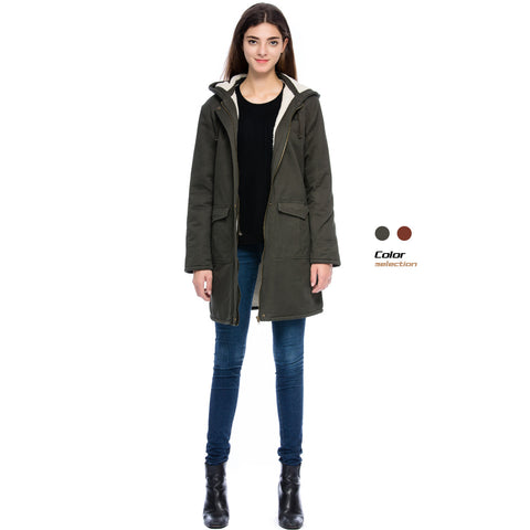 Lacle Women Hooded Warm Military Winter Cotton Coat With pocket