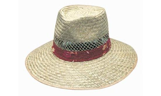 Headwear Natural Straw with Green Under (3942)