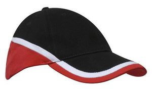 Headwear-Headwear Brushed Heavy Cotton Tri-Coloured Cap-Black/White/Red / Free Size-Uniform Wholesalers - 3