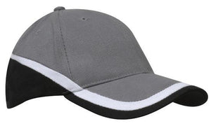 Headwear-Headwear Brushed Heavy Cotton Tri-Coloured Cap-Charcoal/White/Black / Free Size-Uniform Wholesalers - 4