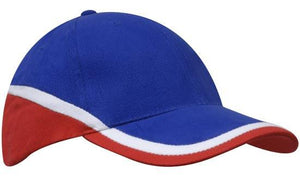 Headwear-Headwear Brushed Heavy Cotton Tri-Coloured Cap-Royal/White/Red / Free Size-Uniform Wholesalers - 7