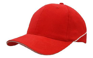 Headwear-Headwear Brushed Heavy Cotton with Crown Piping and Sandwich-Red/White / Free Size-Uniform Wholesalers - 8