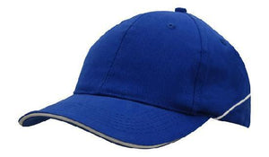 Headwear-Headwear Brushed Heavy Cotton with Crown Piping and Sandwich-Royal/White / Free Size-Uniform Wholesalers - 9