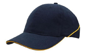 Headwear-Headwear Brushed Heavy Cotton with Crown Piping and Sandwich-Navy/Gold / Free Size-Uniform Wholesalers - 5