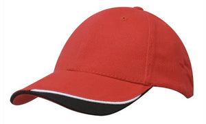 Headwear-Headwear Brushed Heavy Cotton with Indented Peak-Red/White/Black / Free Size-Uniform Wholesalers - 11
