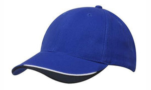 Headwear-Headwear Brushed Heavy Cotton with Indented Peak-Royal/White/Navy / Free Size-Uniform Wholesalers - 10