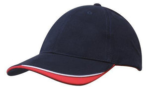 Headwear-Headwear Brushed Heavy Cotton with Indented Peak-Navy/White/Red / Free Size-Uniform Wholesalers - 9