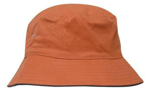 Headwear-Headwear Brushed Sports Twill Bucket Hat-Orange/Navy / M-Uniform Wholesalers - 15