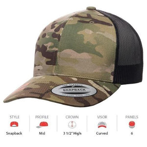 YUPOONG Camo Retro Trucker Multicam - (6606MC) ( CAMO)