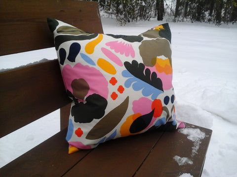Floral pillow cover from Marimekko fabric Hattarakukka