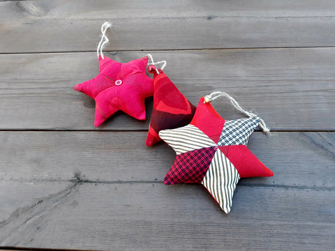 Red Scandinavian Christmas ornaments from Marimekko fabric