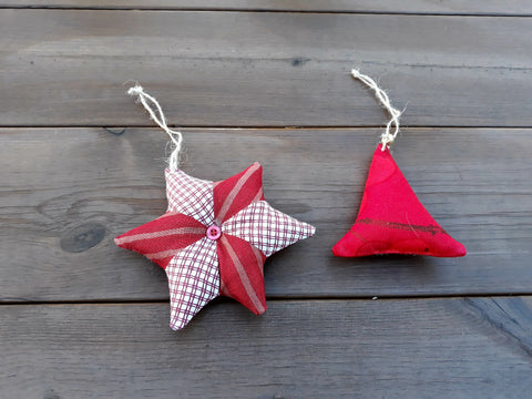 Set of 2 Christmas tree ornaments from Marimekko fabric