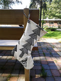 Black and white Christmas stocking from Marimekko fabric Kuusikossa