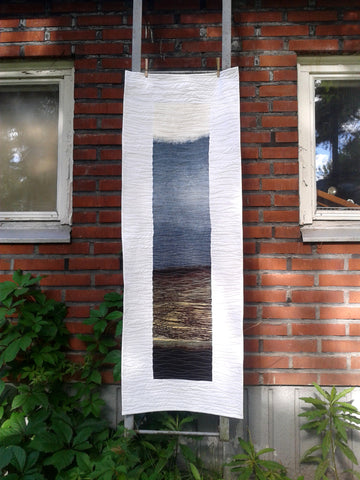 Modern wall hanging made from Marimekko fabric Kuuskajaskari