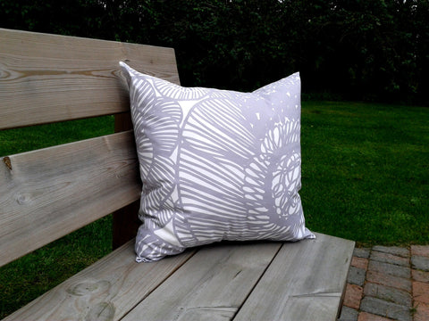 Neutral pillow cover from Marimekko fabric Kurjenpolvi in grey