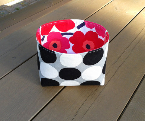 Fabric container made from Marimekko fabric