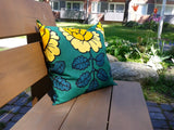 Floral accent pillow from Marimekko fabric Maalaisruusu