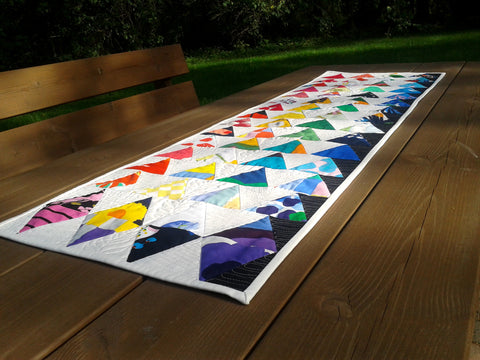 Colorful table runner handmade from Marimekko fabric by NordicCrafter