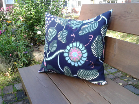 Modern navy blue pillow cover from Marimekko fabric Tiara