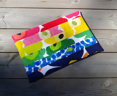Custom rainbow Macbook cover from Marimekko fabric