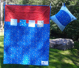 Flannel patchwork baby quilt and hand embroidered pillow
