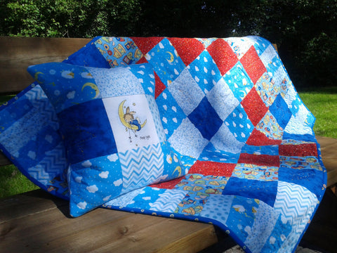 Baby boy flannel blanket hand quilted