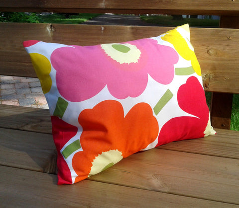 Modern floral pillow from Marimekko fabric Unikko