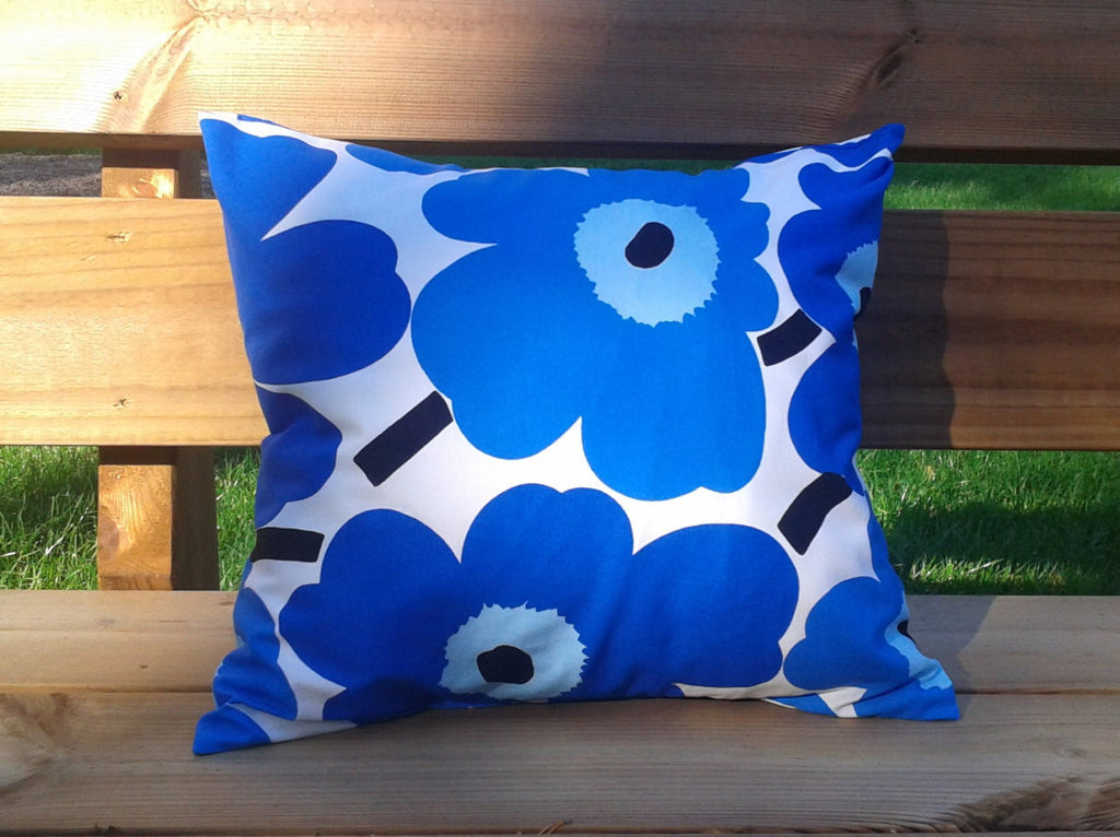 modern blue pillow cover made from marimekko fabric unikko