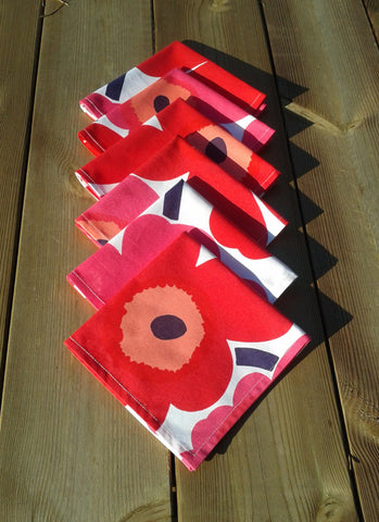 Cloth napkins made from Marimekko fabric Unikko