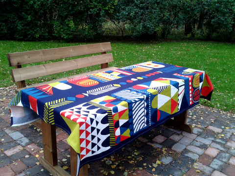 Modern blue tablecloth from Marimekko fabric Toteemi