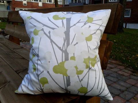 Modern neutral accent pillow from Marimekko fabric Lumimarja