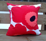 Modern pillow cover from Marimekko fabric red Unikko