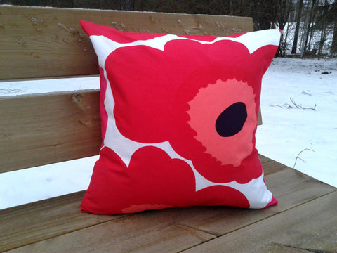 Large print pillow from Marimekko fabric red Unikko