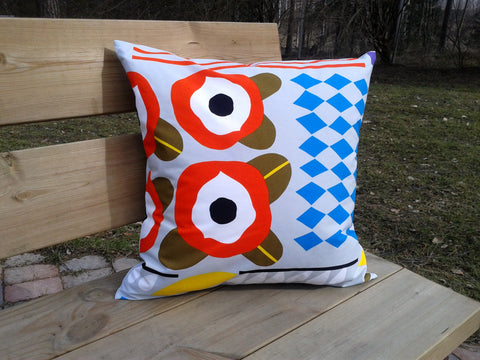 Scandinavian pillow made from Marimekko fabric