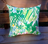 Green accent pillow from Marimekko fabric Kesäntö