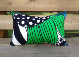 Modern green pillow cover from Marimekko fabric Siirtolapuutarha