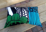 Rectangular pillow cover from Marimekko fabric Siirtlapuutarha