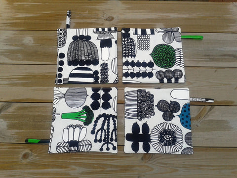 Modern potholders from Marimekko fabric