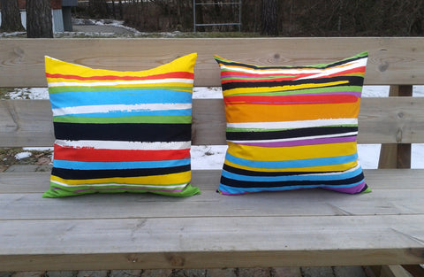 Striped pillow made from Marimekko fabric Circus